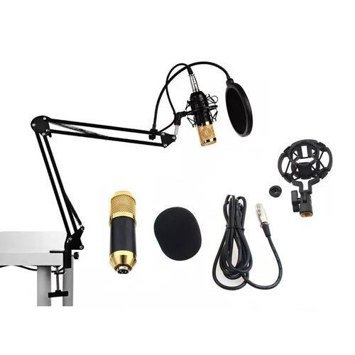 Kit Microfone Condensador Profissional Pedestal Articulado