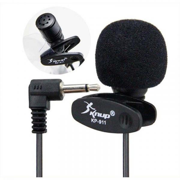 Kit Microfone de Lapela Knup + Adaptador para Celulares