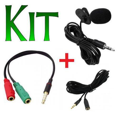 Kit Microfone de Lapela para Celular Smartphone + Adaptador + Extensão 3 Metros