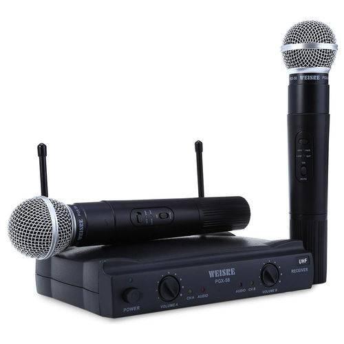 Kit Microfone Dinamico Profissional Duplo Sem Fio Pgx-51
