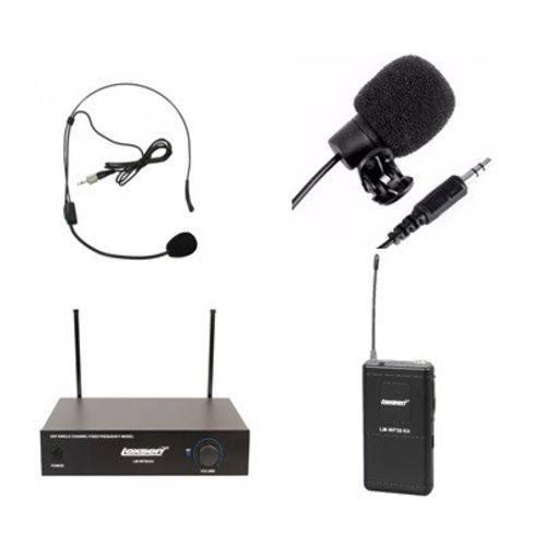 Kit Microfone Sem Fio Lexsen LM-WF58 Bivolt UHF com Lapela e Headset