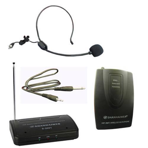Kit Microfone Sem Fio Wireless Auricular Lapela Head Set (S-3001)