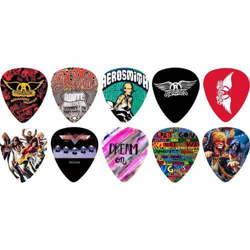 Kit Palhetas Personalizadas Banda Aerosmith 1 Mm com 10 Modelos