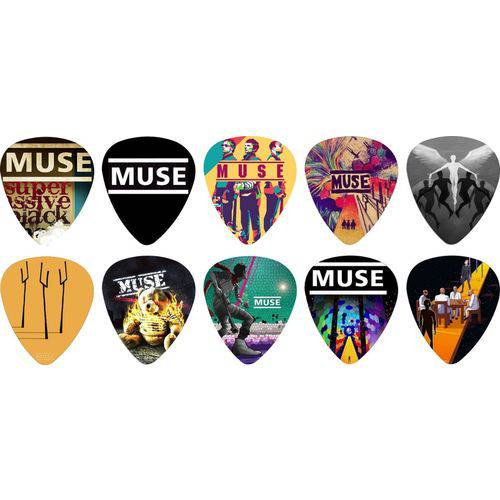 Kit Palhetas Personalizadas Banda Muse com 10 Modelos
