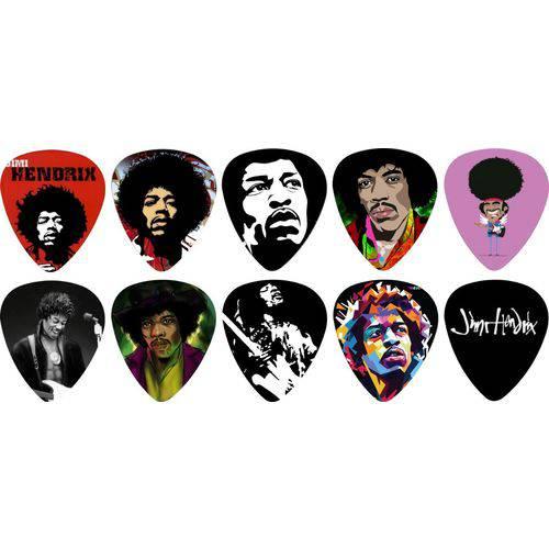 Kit Palhetas Personalizadas Guitarrista Jimi Hendrix com 10 Modelos