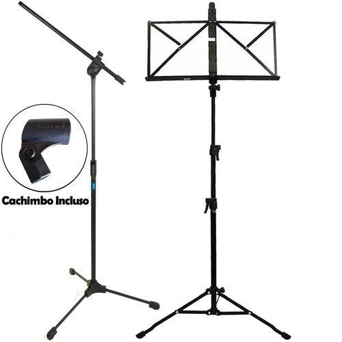 Kit Pedestal Microfone Girafa Tps Ask C/ Cachimb + Partitura