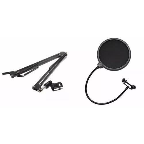 Kit Pedestal Suporte Mesa Articulado Microfone + Pop Filter