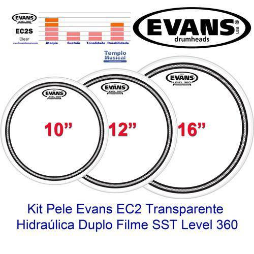 Kit Pele para Tons Surdo 10'' 12'' 16'' Evans Clear Sst Ec2s Hidráulica Transparente Rock Etp-ec2scl