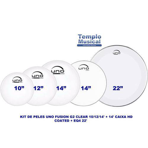 Kit Pele Uno By Evans Tons 10'' 12'' 14'' Caixa 14'' Porosa e Bumbo 22'' Upg2clf22
