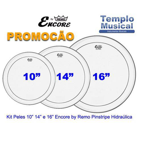 Kit Peles 10 14 16 Encore By Remo Pinstripe Hidráulica