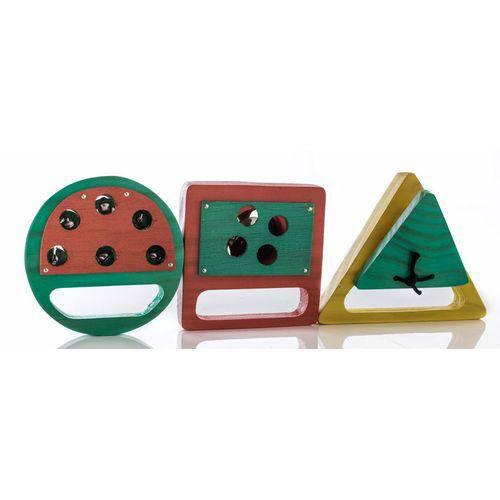 Kit Percussão Baby Geométrica Jog Vibratom P3698 (musicalização Infantil) com 3 Instrumentos