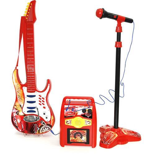 Kit Rock Star com Guitarra, Microfone e Amplificador Relâmpago McQueen - Yellow