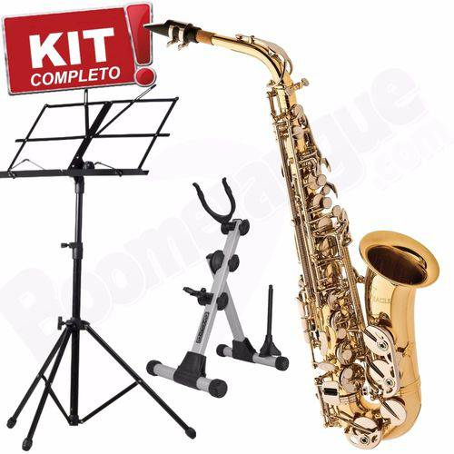 Kit Saxofone Alto Sa500 Ln Eagle Laqueado Niquelado em Mib com Case + Estantepartitura + Suporte