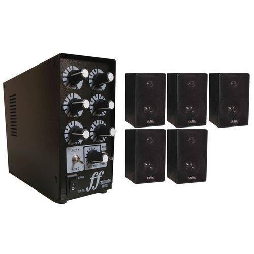 Kit Som Ambiente com 5 Caixas Mais 1 Amplificador 3 Setor