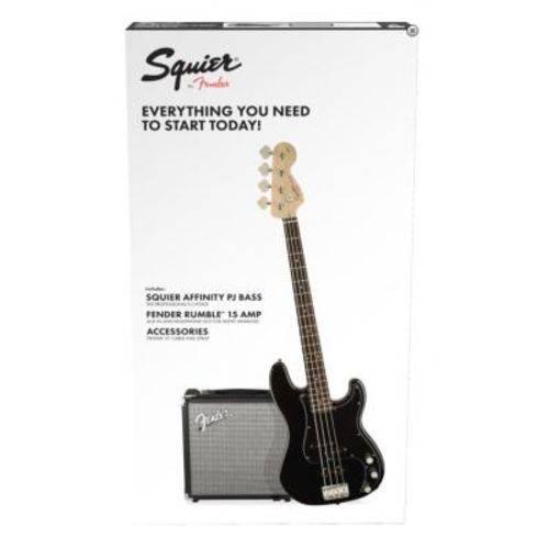 Kit Squier: Baixo Affinity PJ Bass Preto Amplificador Fender Rumble 15 Correia Fender Cabo 3 Metros