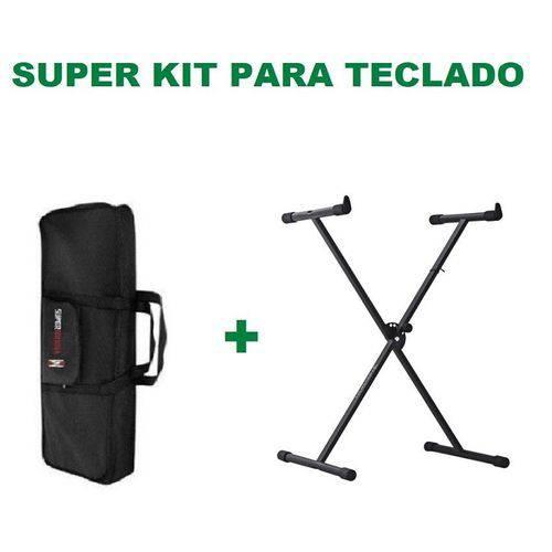 Kit Suporte para Teclado em X St200 Preto + Capa para Teclado Preta