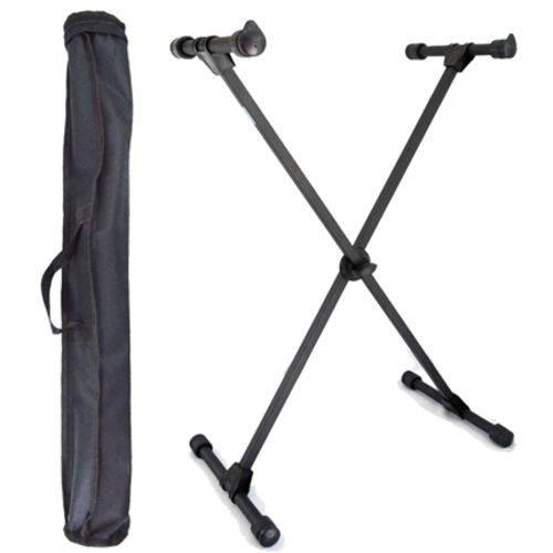 Kit Suporte para Teclado Musical X10s Preto Ask com Capa Transporte