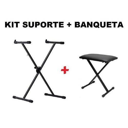 Kit Suporte Teclado St-200 Hayonik + Banqueta Bt-10 Saty