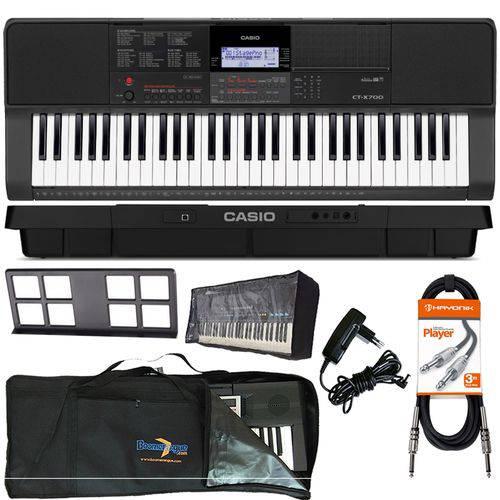 Kit Teclado Arranjador Musical 61 Teclas Ctx-700 Casio Capa Cabo Cobertura