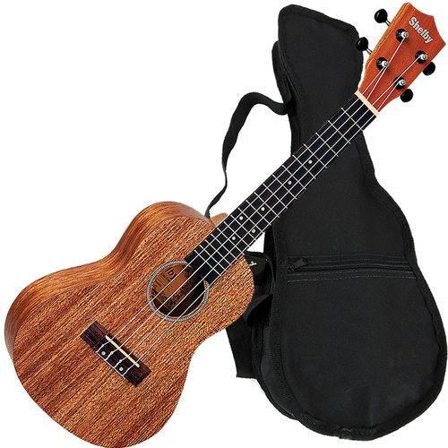 Kit Ukulele Concerto Acústico Mogno C/ Capa Su23m Shelby - Natural
