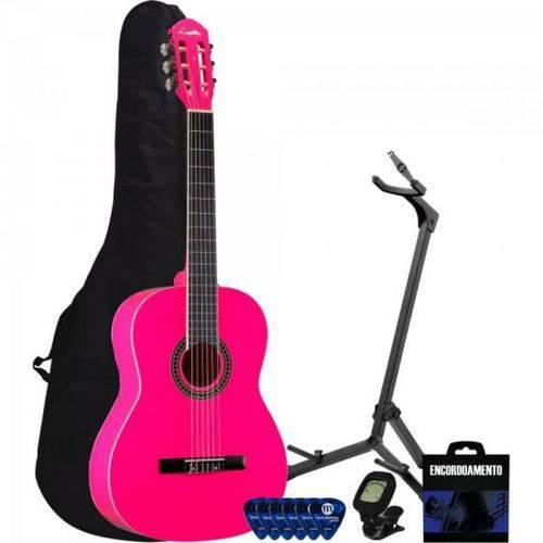 Kit Violão Acústico Nylon Ac39 Rosa Memphis + Acessórios