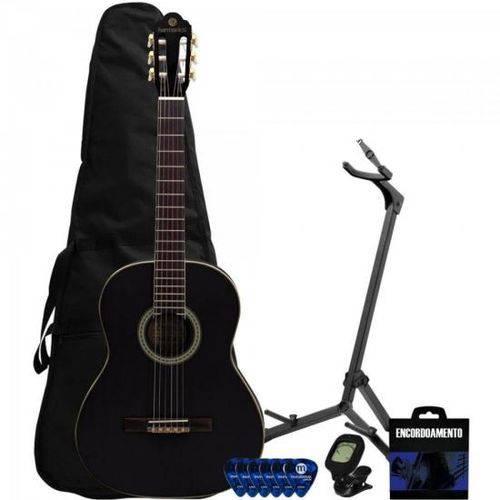 Kit Violão Clássico Nylon Gna-111 Preto Harmonics + Acessórios