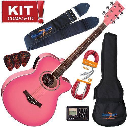 Kit Violão Elétrico Aço Hofma Ye231 Srs Rosa Completo