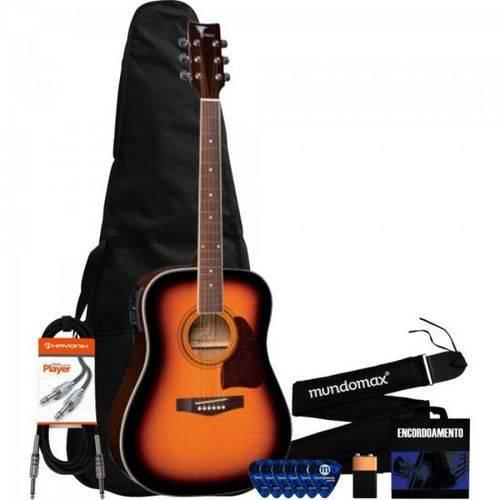 Kit Violão Eletroacústico Folk Aço Ch887 Sunburst Eagle + Capa + Correia + Acessórios