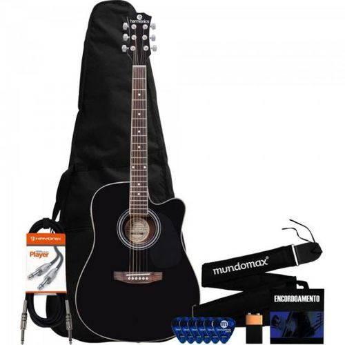 Kit Violão Eletroacústico Folk Ge-30 Preto Harmonics + Acessórios