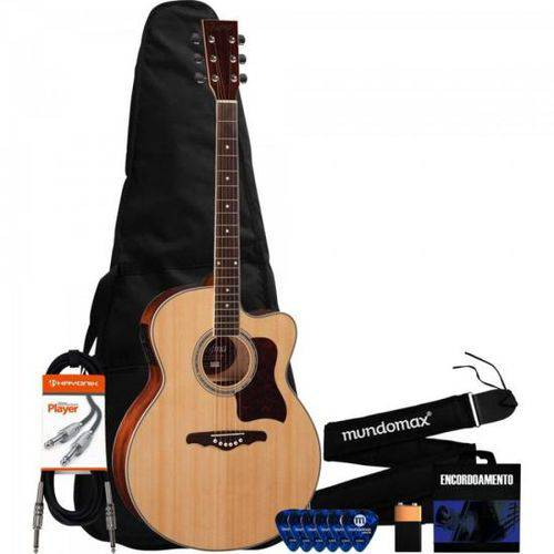 Kit Violão Eletroacústico Jumbo Ye223 Natural Hofma + Acessórios