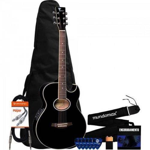 Kit Violão Eletroacústico Mini-jumbo Gl36 Preto Eagle + Acessórios