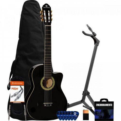 Kit Violão Eletroacústico Nylon Ge-20 Preto Harmonics + Acessórios