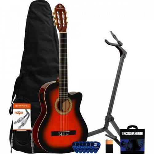 Kit Violão Eletroacústico Nylon Ge-20 Sunburst Harmonics + Acessórios
