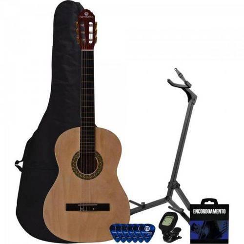 Kit Violão Harmonics Gc-10 Acústico Nylon Natural + Afinador + Suporte + Capa + Acessórios