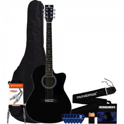 Kit Violão Harmonics Ge-21 Eletroacústico Aço Preto + Capa + Acessórios