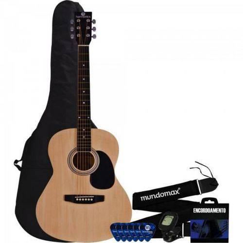 Kit Violão Harmonics Gs-11nt Acústico Aço + Correia + Capa + Encordoamento