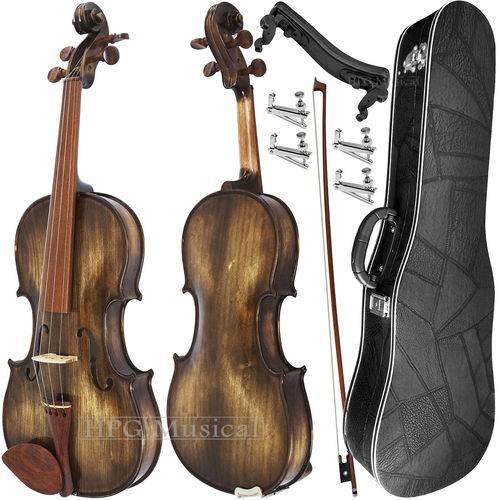 Kit Violino 4/4 Rolim Envelhecido Brilho com Fixos Espaleira Case e Arco