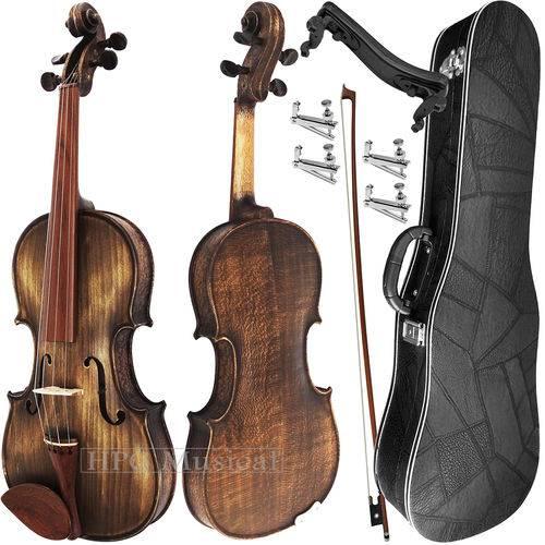 Kit Violino 4/4 Rolim Envelhecido Fosco com Fixos Espaleira Case e Arco