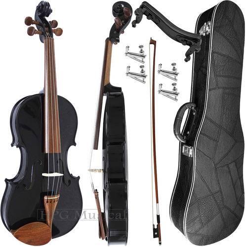 Kit Violino 4/4 Rolim Preto Brilho com Fixos Espaleira Case e Arco