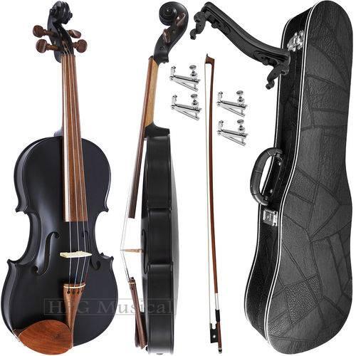 Kit Violino 4/4 Rolim Preto Fosco com Fixos Espaleira Case e Arco