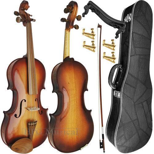 Kit Violino 4/4 Rolim Sombreado Brilho com Fixos Espaleira Case e Arco