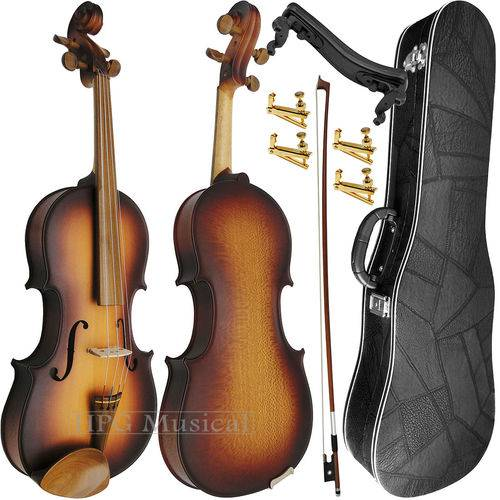 Kit Violino 4/4 Rolim Sombreado Fosco com Fixos Espaleira Case e Arco