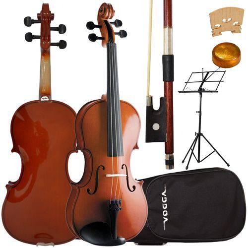 Kit Violino 3/4 Vogga Von134 Crina Animal Estojo Breu