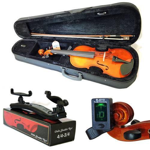 Kit Violino Barth Nt 4/4 com Estojo, Arco,Breu + Espaleira Shoulder Rest + Afinador Joyo