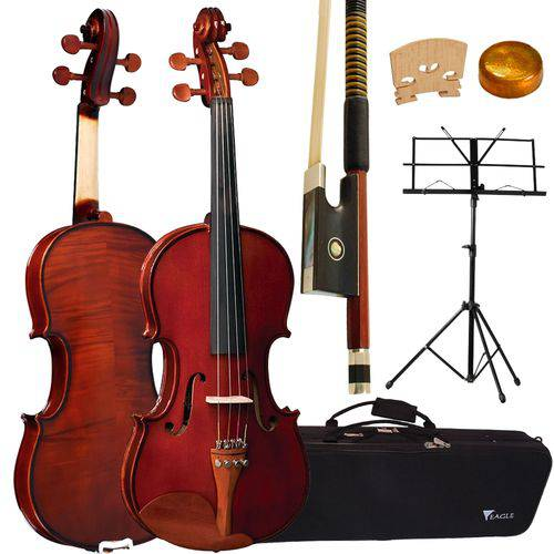 Kit Violino com Estojo Extra Luxo 4 / 4 Ve441 Eagle + Estante de Partitura