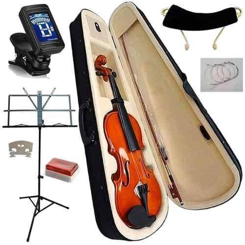 Kit Violino Elite 4/4 com Afinador, Estante de Partitura e Acessórios