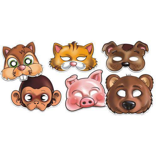 Máscara Animais Colorido com Impresso - Pacote com 4 Unidades