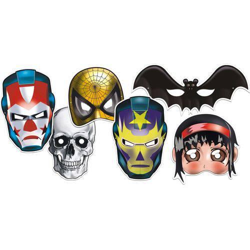 Máscara Heróis Colorido com Impresso - Pacote com 4 Unidades