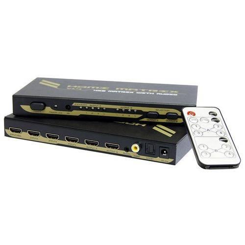 Matriz HDMI 4×2 com Saída de Áudio com Suporte 3D (Toslink Audio + Coaxial Audio + 3.5 Stereo) - AMCP