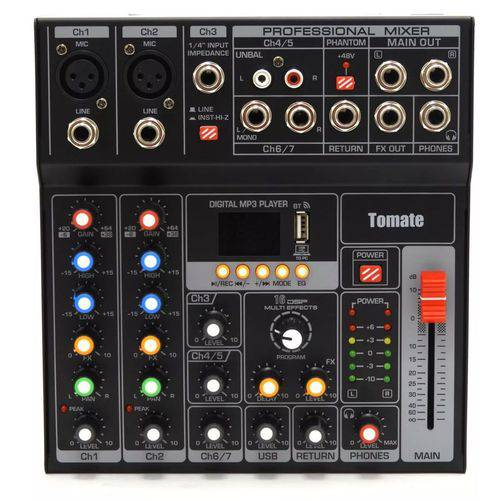Mesa de Som 7 Canais com 16 Efeitos Inclusos, Usb, Mp3 e Display Digital